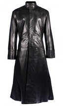 Matrix Neo Cotton Coat Keanu Reeves Black Leather Trench Gothic Jacket image 2