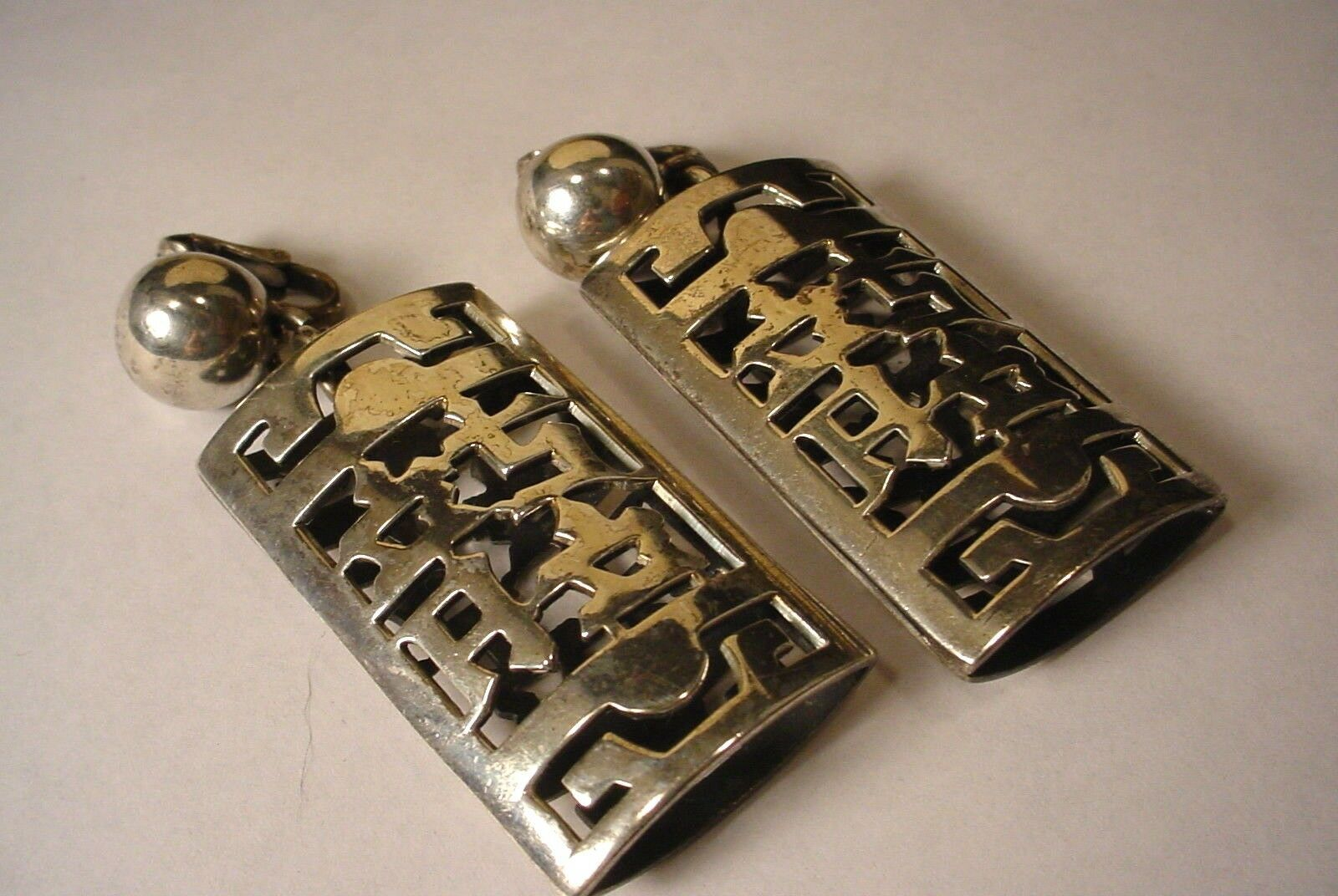 Vintage Napier LARGE Asian Ethnic Oriental Letters Silverplate Clip on Earrings image 3