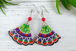 Colorful Ethnic Embroidery Dangle Earrings, Handmade Fabric Jewelry  - ₹640.42 INR