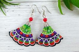 Colorful Ethnic Embroidery Dangle Earrings, Handmade Fabric Jewelry  - $9.00