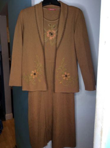 5c85b983bfb7 Vintage Parade 2 Pc Tan Cardigan Dress Floral Beaded Embroidered Set SZ  Small