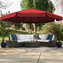 Outdoor Market Umbrella Cross Base Crank Air Vent Metal Frame Polyester ... - $364.08
