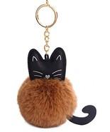 Youngate Mini Cat Shape Cute Kitty Rabbit Fur Pompom Keychain Phone Orna... - $17.53