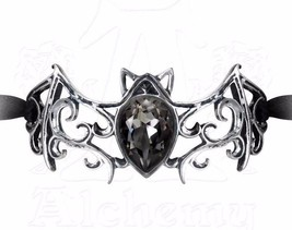 Viennese Nights Black Ribbon Bracelet Ornate Crystal Bat Alchemy Gothic A108 - $46.95