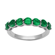 7 Stone Green CZ Stacking 925 Sterling Silver Stackable Half Eternity Ba... - $11.92