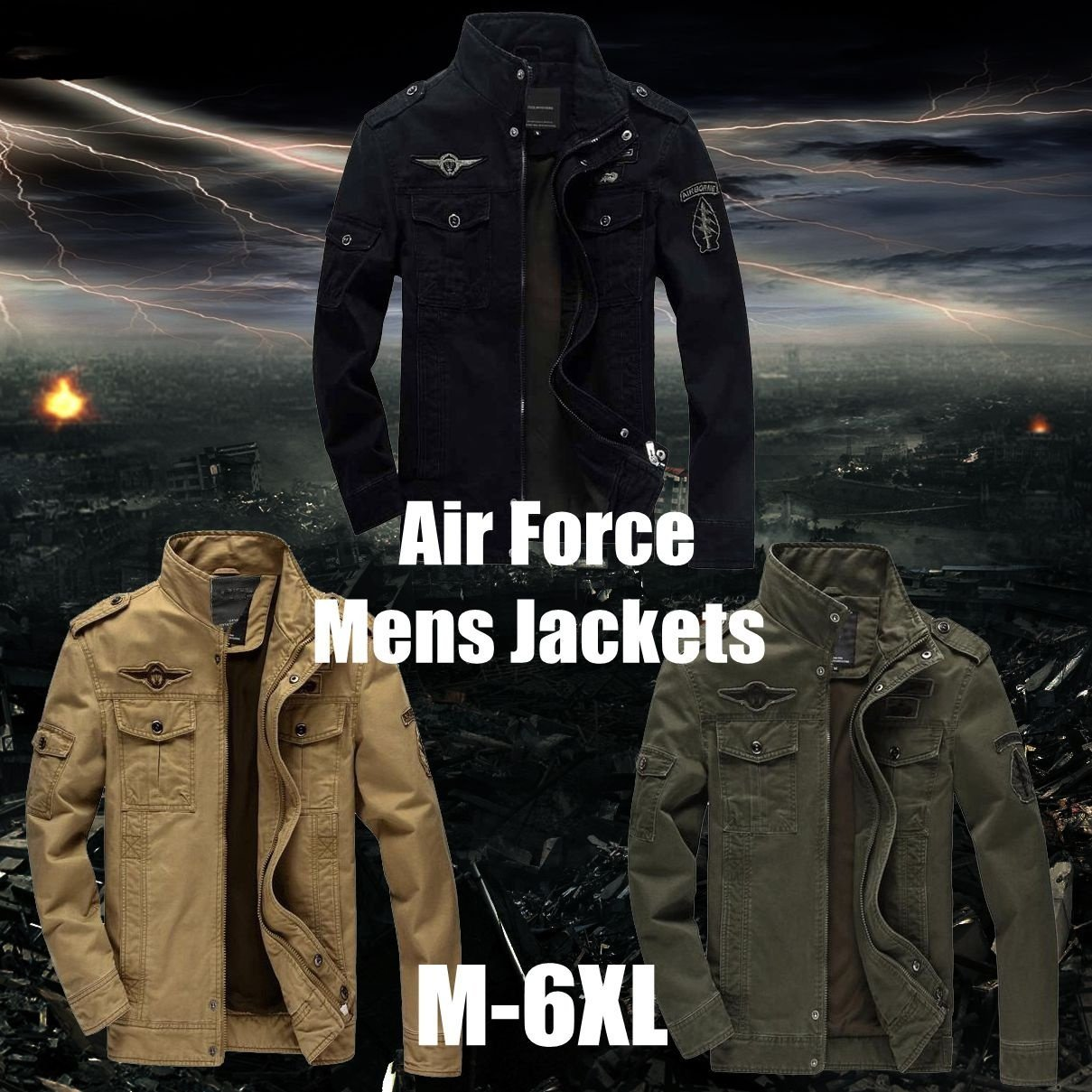 Fashion M 6xl Men Jacket Jean Military Army Soldier Cotton Air Force men Men's J