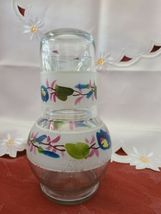 Vintage Flower Clear Glass Hand Painted Nightside Carafe and Tumbler Set image 4