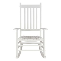Outdoor Rocking Chair Classic White Traditional Porch Relax Backrest Stu... - $153.99