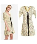 Women's TOPSHOP Yellow Floral Print Hook Front Dress, sz 6 - $47.34