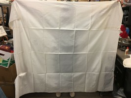 "Antique French Linen Tablecloth Greek Key Edge and Floral Pattern 73""x63"" - $102.65"