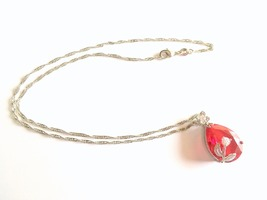Red Crystal Teardrop Necklace, Valentine's Day, Teardrop Pendant, 18K Go... - $12.50