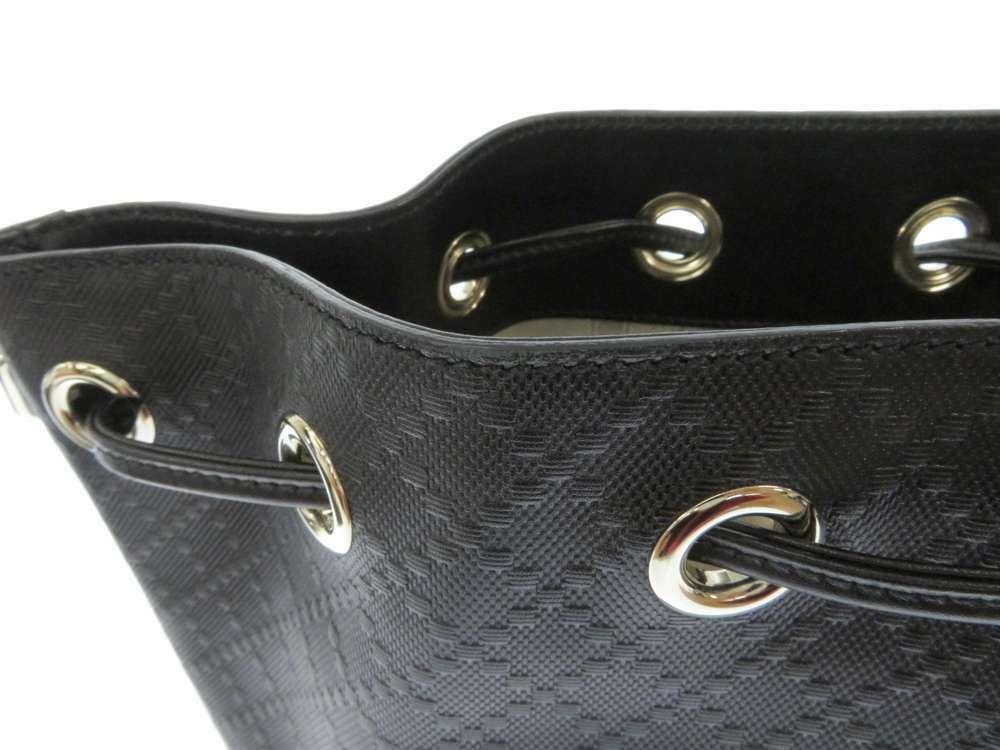 GUCCI Diamente Leather Black Shoulder Bag 354229 One shoulder Italy Authentic image 6