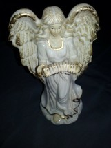 Vintage Christmas, Holiday, Angel, Ceramic, Gold and White - $16.82