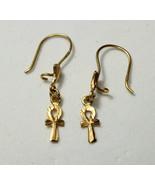 Egyptian Handmade Ankh Cross Key of Life Earring  18K Yellow Gold 2 Gr - $241.53