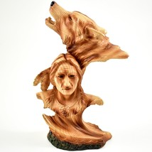 Faux Wood Western Native American Indian with Howling Wolf Bust Figurine image 1