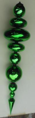 """Very Large Christmas Finial Decoration Glass 26"""" Green"""