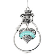 Inspired Silver Teal Class of 2017 Pave Heart Snowman Holiday Christmas Tree Orn - €12,87 EUR