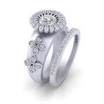 5mm Half Carat DEF White Moissanite Floral Art Nouveau Wedding Ring Set For Her - $229.99