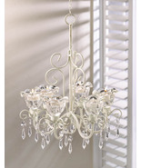 Crystal Bloom Candle Chandelier Distressed Ivory 6 Floral Cups, Faceted ... - $43.95