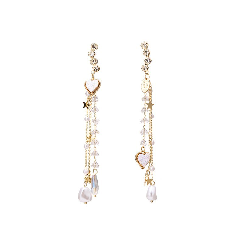 Primary image for New Trendy Exquisite Heart Long Tassel Dangle Earrings Dream Temperament Crystal