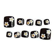 Flower Black Short Artificial False Nails Tips False Toenails Nail Decoration image 2