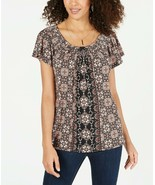 Women's Style & Co Kaleidoscope Printed Pleated-Neck Soft Stretchy Top N... - $6.05
