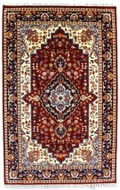 Indian Handmade Carpet 4x6 ft Hand Knotted Red Blue 'fahan' Oriental Woo... - $227.44