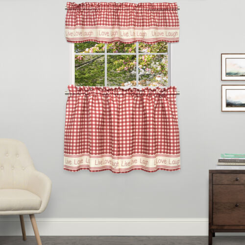 Primary image for Gingham Stitch Live Laugh Love Kitchen Curtain Tier Pair or Valance Red