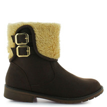 Girl's winter faux fur buckle brown strappy boot for toddler and youth - $43.98