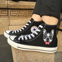 Converse Chuck Sneakers Original Design French Bulldog Shoes Canvas Black Flat - $119.00