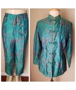 Women's Vintage Asian Silk Custom Made Pants Suit Green Floral Pants Top XL - $46.49