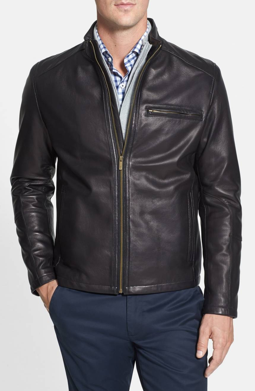 New Men's Genuine Lambskin Leather Jacket  Slim fit Biker Motorcycle jacket-G35