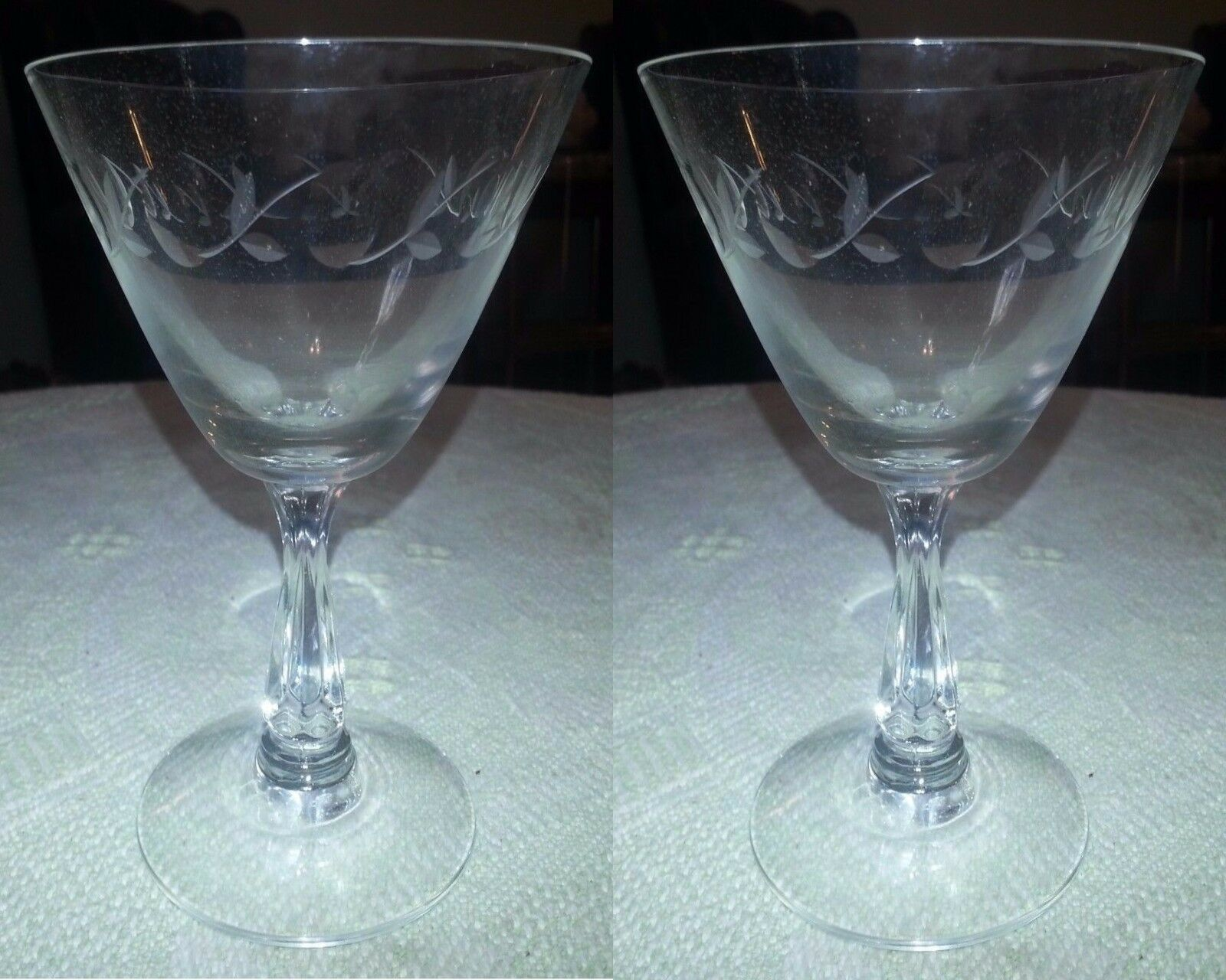 Primary image for Pair of Vintage FOSTORIA Etched Crystal Champagne Stem Glass Vine w Thumbprints