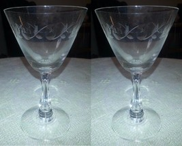 Pair of Vintage FOSTORIA Etched Crystal Champagne Stem Glass Vine w Thum... - $10.76