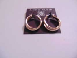"Anne Klein  1 1/8"" Gold Tone Twin Criss Cross Click Top Hoop Earrings N6... - $10.55"
