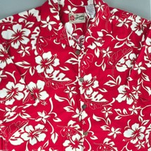 Hilo Hattie Hibiscus Vine Red Hawaiian Shirt Large Fit M/L Mens 48in Che... - $26.96