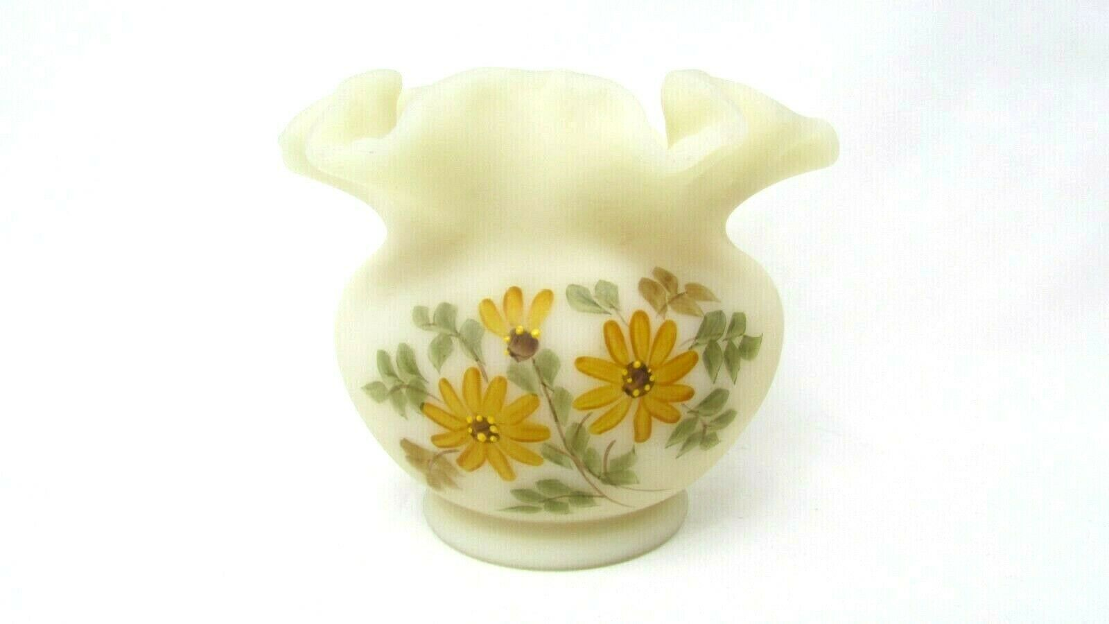 Primary image for FENTON Beige Satin Glass Ruffled Vase Hand Painted by Sally Webster Floral EUC