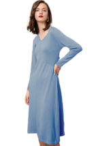 RanRui Women's V Neck Winter Dress Cashmere Knit Dress Long Sleeve Loose... - $38.60