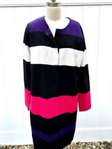 Calvin Klein Womens L Knit Jacket Long Zipper Pink Purple Black Cotton NWOT - $49.99