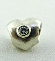 Pandora Sterling Silver White CZ Heart Charm Bead  - $25.73