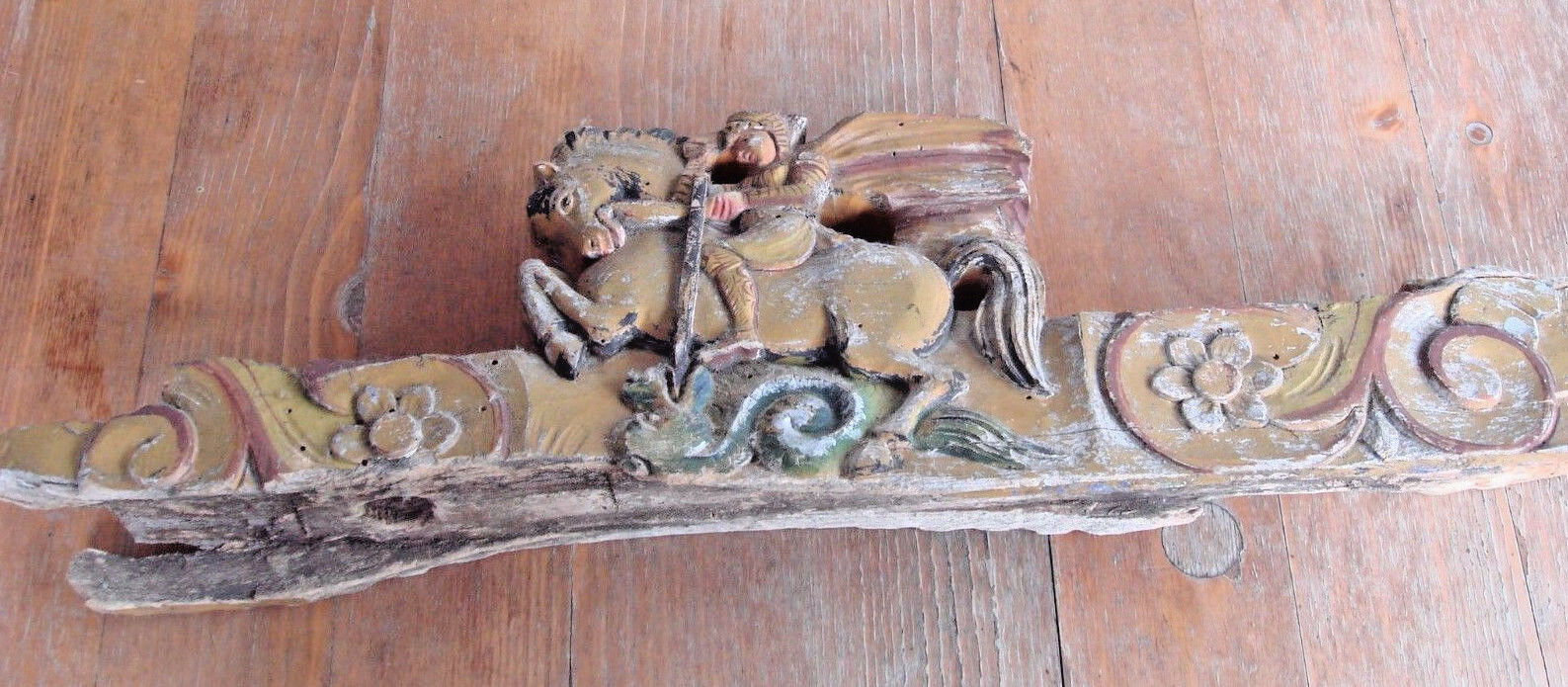 "Antique 200 years old ""fronton"" wood carved Georges Dragon church décor image 2"