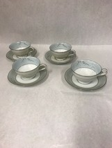 NORITAKE coffee tea Cup and Saucer vintage Cathay 1959-64 Blue silver 4 ... - $25.93