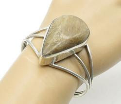 925 Sterling Silver - Vintage Large Tear Drop Brown Jasper Cuff Bracelet... - $156.29