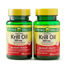 Spring Valley Krill Oil Softgels, 350 mg, Twin Pack, 60 Count. - $29.69