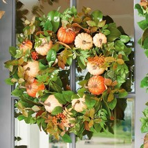"Fall Boutique Pumpkin Harvest 30"" Wreath Seasonal Display Door Decor Fol... - €100,86 EUR"