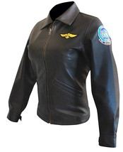 Womens Top Gun Kelly McGillis Charlotte Blackwood Black Biker Leather Jacket image 2