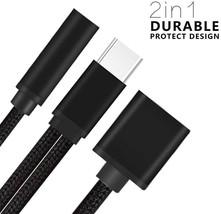 Nylon Braided 2 in 1 USB C Type C to 3.5mm Headphone Audio Aux Jack image 3