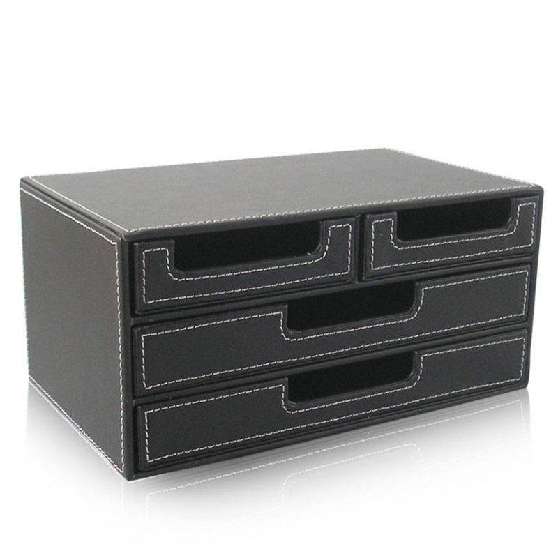 High Grade Pu Leather Box Office Desktop File Cabinet Four Drawer Style Statione