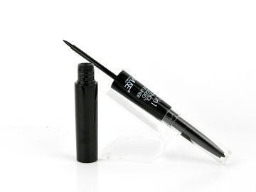 Pencil and liquid black eyeliner