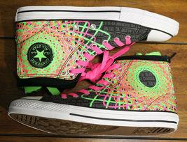 Converse Chuck Taylor All Star Zipback 649963C Black Pink Green Shoes Girls Sz 5 image 6
